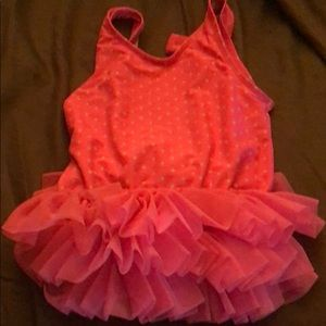 Pink polka dot school age bathing suit with tutu